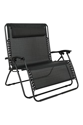 Mountain Warehouse Double Reclining Chair - Lightweight, Head Cushion, Folds Away, Outdoor Use Only, Weight 12Kg - For Camping, Outdoors, Travelling, Picnic Black