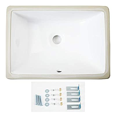 "AWESON Under-Mount Bathroom Sink 16""x11"" 16-Inch by 11-Inch Rectangle Ceramic Undermount Vanity Sink, White"