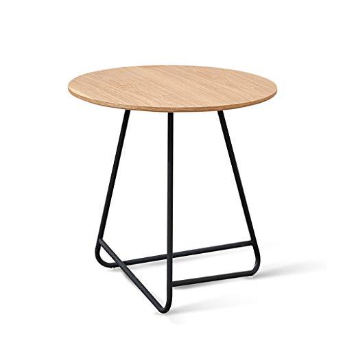 ZIJUAN Table Basse Nordique en Fer Forgé Salon Salle À Manger Canapé-lit Rangement Rangement Table De Coin (Couleur : Naturel)