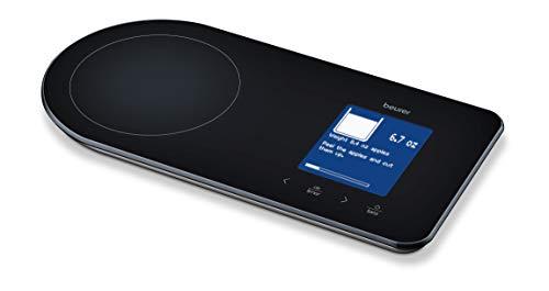 Beurer KS 800 Rezeptwaage, Küchenwaage mit Rezeptanzeige, Bluetoothverbindung zur Smartphone Rezepte-App, 5 kg Tragkraft, wiederaufladbarer Akku, schwarz