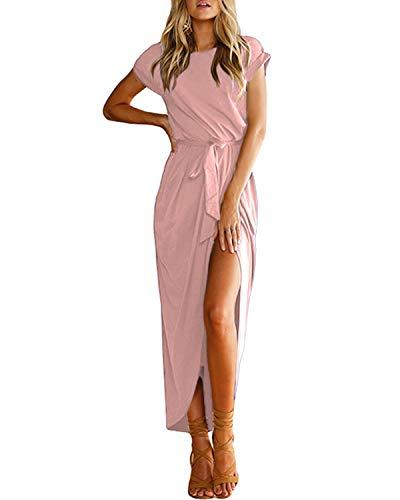 YOINS Sommerkleid Damen Lang Maxikleider für Damen Strandkleid Sexy Kleid Kurzarm Jerseykleider Strickkleider Rundhals mit Gürtel Rosa S