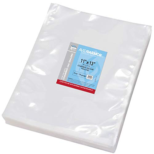 Chamber Machine Vacuum Pouches 11 x 13 Size 3MIL Pre-Cut Heavy Duty Bags 250 Pack BPA Free Sous Vide Safe - NOT COMPATIBLE WITH FOODSAVER TYPE VACUUM SEALERS - Commercial Use Grade Avid Armor