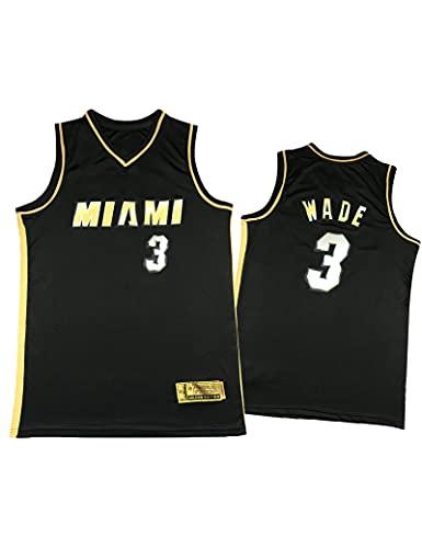 Kfdfns Baloncesto para Hombre 2021 Jersey Miami Heat NBA # 3 Dwayne Wade Chaleco Deportivo Transpirable Top Sudadera sin Mangas Camiseta Chaleco Top