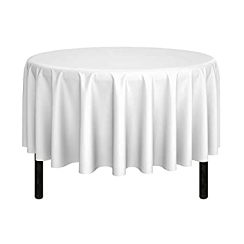 MILL & Thread - 90  Round Premium Tablecloth for Wedding/Banquet/Restaurant - Polyester Fabric Table Cloth - White