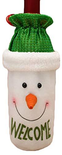 ZHIXING Weihnachten Wein Flasche Tasche für Table Dekoration Weinflasche Beutel Weihnachtsmann Schneemann Elch Tisch Deko Süßigkeiten Geschenkverpackung (Style#2)