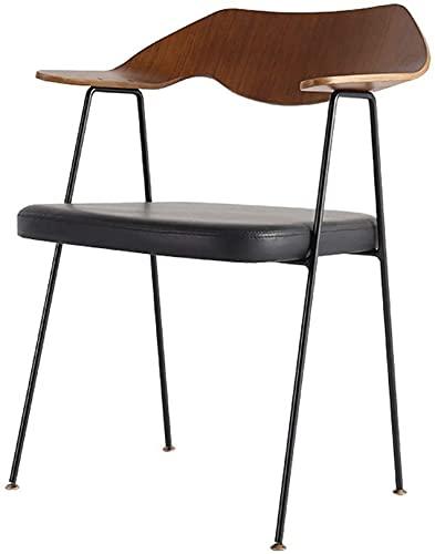 WWJ Bar Chair Metal Modern Simple Wooden Bar Chair Bar Stool Suitable for Tea Shop Cafe Balcony Home Bar Chair 37x54x77cm Dining Chair (Color : Black)