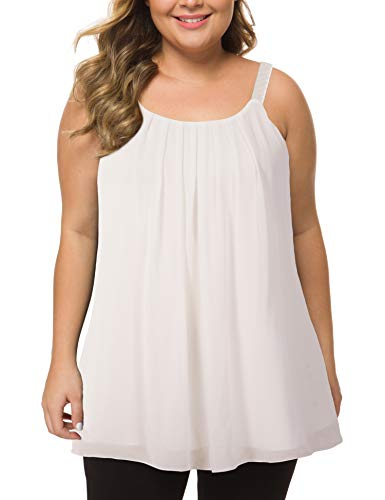 MANER Women's Plus Size Cami Casual Pleated Chiffon Tank Top with Beaded Strap (White, XXL/US 18-20)