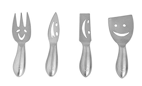 NewlineNY Stainless Steel 4 Pieces Smiling Faces Cheese Knife Set:...