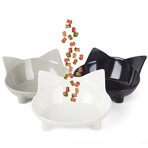 Cotill Cat Bowls, Anti-slip Multi-purpose Cat Food Bowl Pet Water Bowl Cat Feeding Bowl, Set of 3 - Grey/Black/White