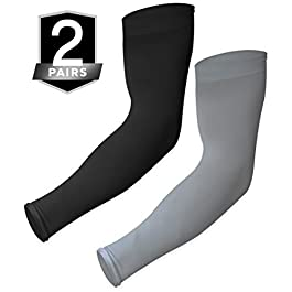 UV Sun Protection Arm Sleeves – Cooling Sports Compression Multipack Athletic Sleeves for Men & Women – UPF 50 Arm Cover…