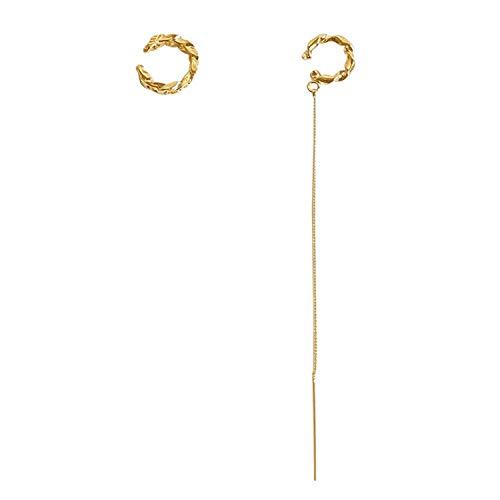 Wave Cuff Threader Earrings, Drop Chain Ear Cuff 2pcs Set, Threader Cuff Crawler Wrap Long Tassel Earring (Gold)