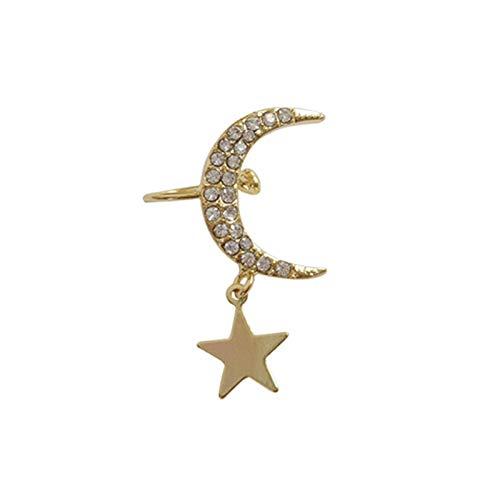 Moares - Orecchini da donna, con clip per orecchio, alla moda, con strass, 2, Metallo,
