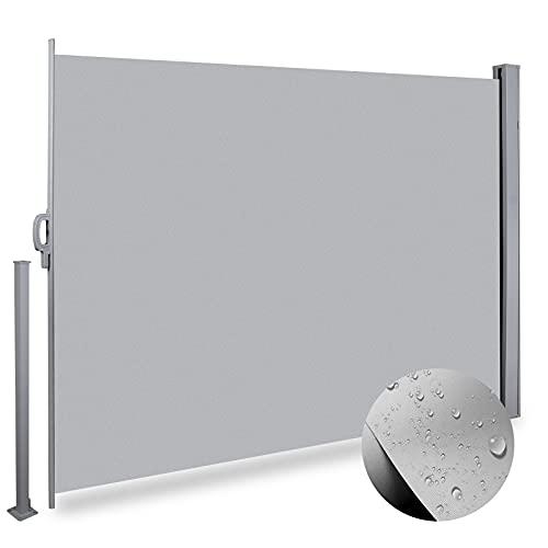 Toldo Lateral Retractil Impermeable 160x300cm para Patio, Terraza, Toldos Extensible Exterior de Aluminio para Protege la Privacidad, Protector Solar, Prueba de Viento, Toldos Balcon Jardín,Gris Claro