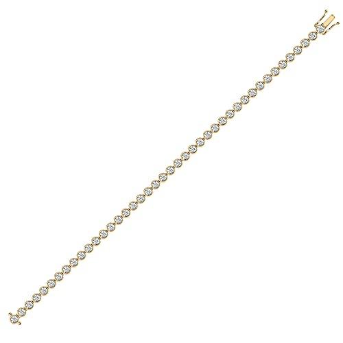 Jewelco Europa Bracciale da donna in oro giallo massiccio da 18 ct con strofinamento rotondo G SI1 Bracciale da tennis con linea di diamanti da 6 ct 4,1 mm
