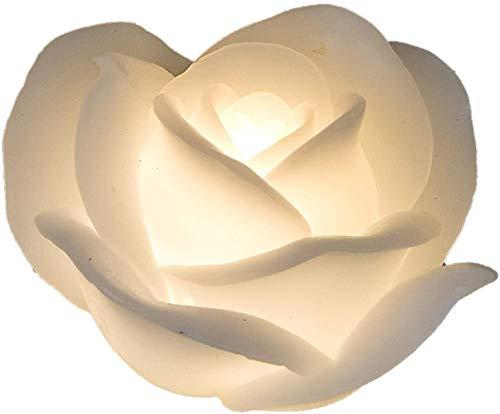 dekojohnson - LED-kaars van echte was - witte roos 11 cm - bloemenkaars met beweegbare vlam warmwit timerfunctie - decoratief idee