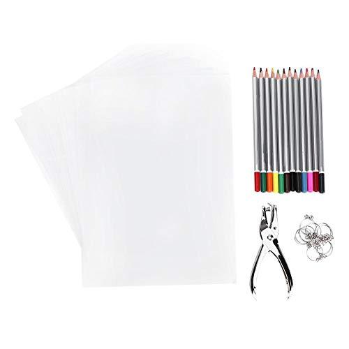 HEEPDD Wärme Schrumpffolie Folie, Wärmeschrumpfende Plastikfolie Kit Enthält 10 schrumpfende Kunstdruckpapiere 10 Schlüsselanhänger 12 Stanzwerkzeug für Buntstifte