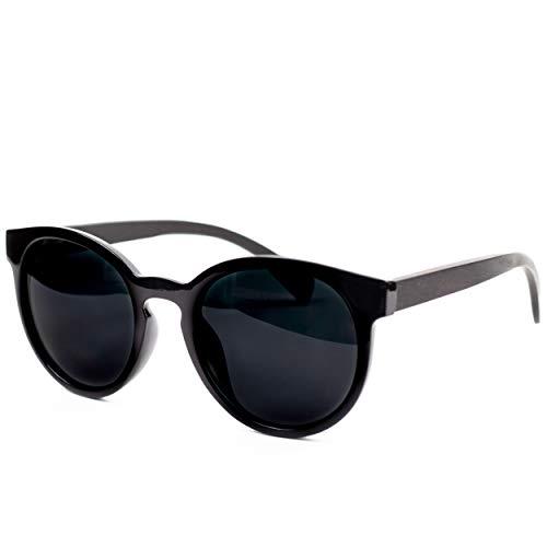 Holzwurm Sonnenbrille mit Holzbügeln aus Ebenholz für Damen/Polarisierende Brillengläser mit UV400-Schutz/mit Brillenetui aus echtem Bambus (schwarz)