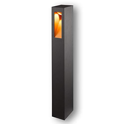 Lucande LED Außenleuchte 'Jenke' (spritzwassergeschützt) (Modern) in Schwarz aus Aluminium (1 flammig, A+, inkl. Leuchtmittel) - Wegeleuchte, Pollerleuchte, Wegelampe, Sockelleuchte