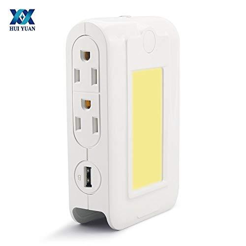 Qiong Yao TIAN Luz Nocturna Lámpara multifunción LED Luz de noche de inducción inteligente USB 3.1A Teléfono Carga rápida 4 salidas de CA 110V-220V con función de soporte
