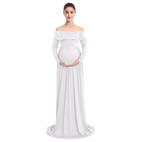 Women's Maternity Elegant Slim Fitted Gown Off Shoulder Pregnancy Ruffles Mama Long Sleeve Baby Shower Maxi Photography Dress Casual Beach Breastfeeding Nursing Dress for Photo Shoot White Small