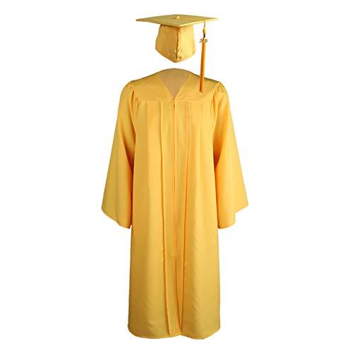HshDUti Abschlusskleid und Kappe für Erwachsene 2021 Jahr Charm Unisex Matt Uni Bachelor High School Gelb XXXL
