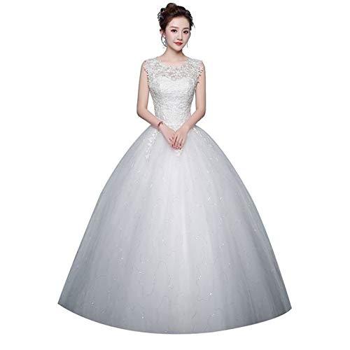 Robes de mariée de bal - Grande taille - Simple - À lacets - Couleur : blanc cassé - Taille US : 8