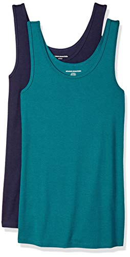 Amazon Essentials Damen Tanktop, schmale Passform, 2er-Pack, Mehrfarbig (Dark Green/Navy), Large