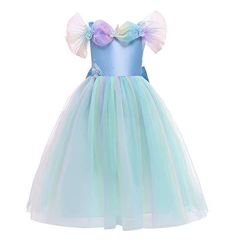 IWEMEK Disfraz de Cenicienta Vestido de Princesa Maxi Largo Mariposa con Accesorios Nias Disfraces de Carnaval Halloween Navidad Cumpleaos Ceremonia Fiesta Vestidos Ropa #03: Azul Set 11-12 aos