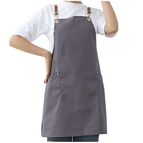 Watwass Gris Delantal Cocina Mujer Baratos Delantal Camarero Peluqueria Manualidades con Bolsillo