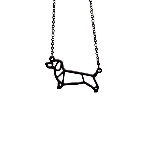 VAWAA Collar de Perro Salchicha de Origami joyería geométrica Collar con Colgante de Perro Salchicha joyería de Perro Mascota para Mujer