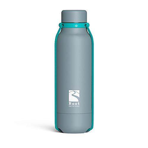 Root FTC Bottiglia Termica Acciaio Inox Doppia Parete, Tappo Anti Goccia, Fondello Anti Urto Corde Elastiche 530 ml, 700 ml e 940 ml - Calde(20h)/Fredde(24h)