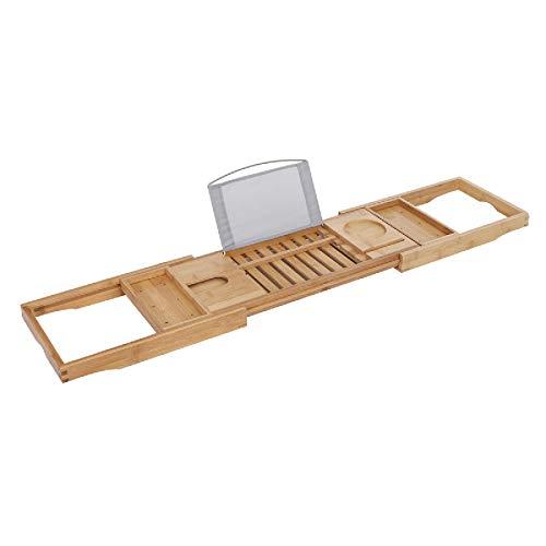 Jtoony Bathroom Trays Adjustable Bathtub Rack Bamboo Caddy Shelf Shower Tub Tray Towel Phone Tablet Holder Support