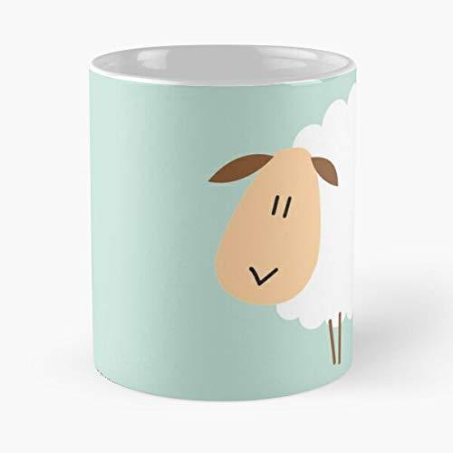 Taza de café de cerámica con diseño de oveja de lana, diseño de carnero con animales de cabra para comer a morder John Best de 315 ml