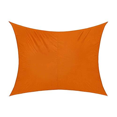 ENCOFT Telo Parasole Vela Esterno Rettangolare 3x4.5m Impermeabile, Tenda a Vela Protezione Raggi UV, Telo da Sole con 6 Corda per Giardino Terrazza, Arancione