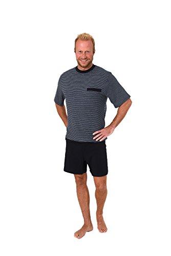 Normann Care Herren Pflegeoverall Kurzarm mit Reissverschluss am Rücken und Bein 261 171 90 772, Größe:XL, Farbe:Ringel Jeans