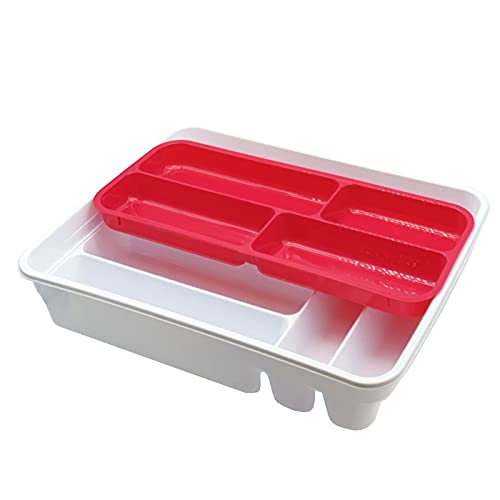 Plastic Forte - Cubertero de plástico 40 x 29 x 7,5 cm con 10 compartimentos en 2 niveles. Bandeja de cubiertos, soporte, organizador de utensilios de cocina. Ideal para cajones (Blanco y rosa oscuro)