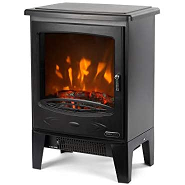 Ezee Glow Wee Hugo Contemporary LED Fuel Effect Electric Stove Fire with Realistic LED Flame Effect, 2-Heat Settings, Thermostat Heat Control, 1800 Watts