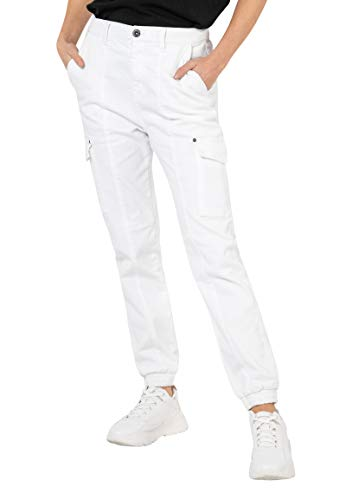 Sublevel Damen Cargo-Hose High Waist mit Seitentaschen White M