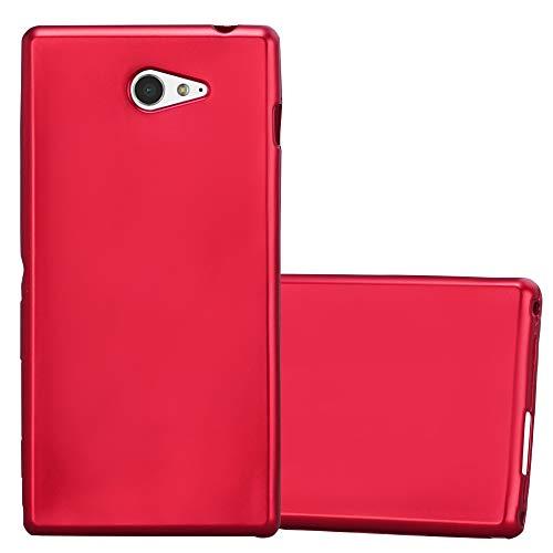Cadorabo Funda para Sony Xperia M2 / M2 Aqua en Metallic Rojo – Cubierta Proteccíon de Silicona TPU Delgada e Flexible con Antichoque – Gel Case Cover Carcasa Ligera