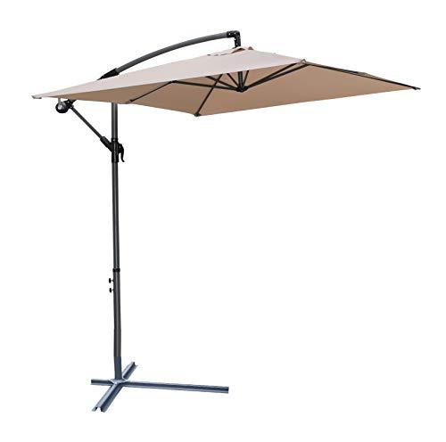 Pure Home & Garden Hochwertiger Ampelschirm Horizon 300 x 200 cm in Taupe, neigbar, 360 Grad drehbar, UV-Schutz 40 Plus, inklusive Plattenständer