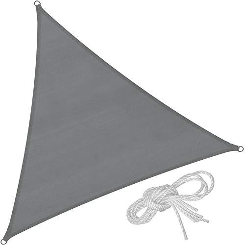 TecTake 800886 Toldo Vela jardín protección UV | con Juego de Cables tensores | - Varios Modelos | Gris (Triangular (3 x 3 x 3 m))