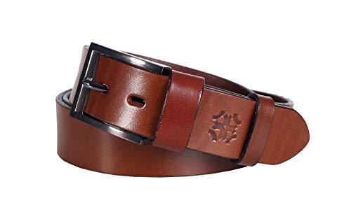 Lettro Cinturones Cuero Genuino para Hombres, Cinturón de Piel Curtida para Hombres, Cinturón de Diario Elegante 100% de Cuero, Hechos en Europa (Longitud: 120 cm   Ancho: 4 cm/Marron)