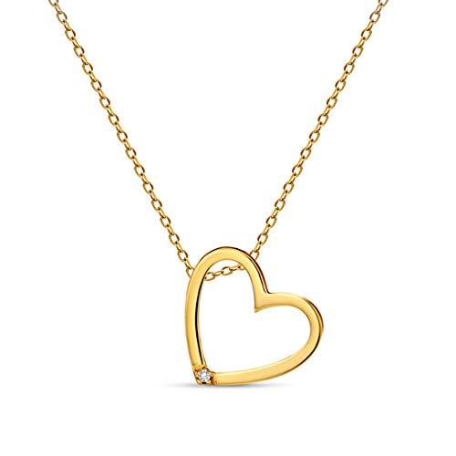 Miore - Collier avec Pendentif Femme - Coeur - Or jaune 375/1000 (9 carats) 1.69 gr - Diamant 0.01 cts