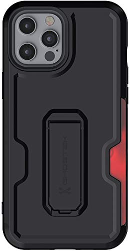 """Ghostek Iron Armor Belt Clip iPhone 12 Pro Max Case with Holster, Card Holder, Stand Protective Full Body Cover with Heavy Duty Protection Matte Design 2020 iPhone 12 Pro Max 5G (6.7"""") (Matte Black)"""