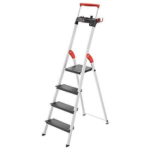 Hailo 8050-427 L100 Pro, 4-Ft Folding Lightweight Aluminum Step Platform Ladder, Black