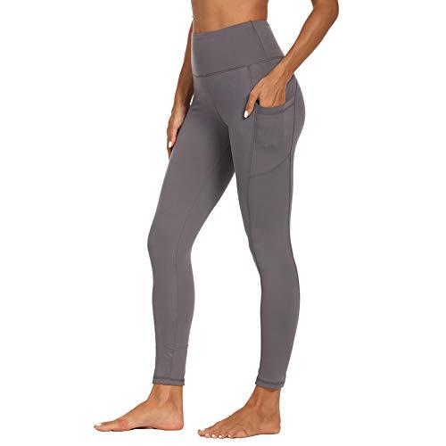 SYRINX High Waist Yoga Pants with Pockets for Women- Tummy Control 4 Way Stretch Workout Running Yoga Leggings (Dark Grey, Medium)