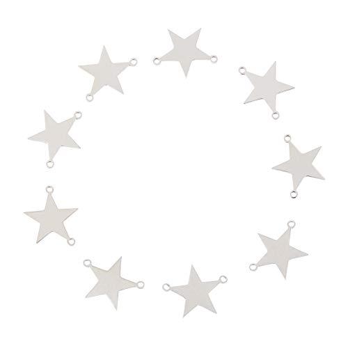 UNICRAFTALE 約10個 18mm ステンレス チャーム リンクコネクタ 星形 2つ穴 コネクタパーツ 五芒星チャーム チャーム ステンレス色 可愛い メタルチャーム 金属チャーム ネックレスパーツ ジュエリー作り ネックレスブレスレット ピアスパ
