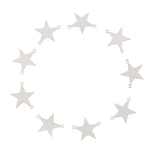 UNICRAFTALE about 10pcs Star Charm Links Blank Tag Metal Pendants Stainless Steel Charms 1.5mm Hole Flat Charms Pendant Linking Charms Connectors for DIY Jewelry Making Stainless Steel Color