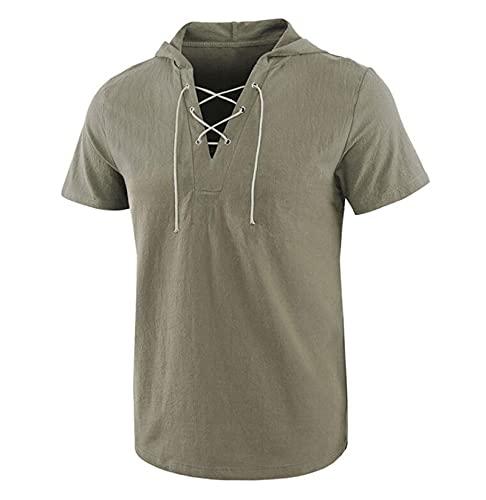 Camiseta Informal Hippie de Media Manga con cordón y cordón para Hombre, Camiseta de Playa de Verano, Sudaderas con Capucha para Hombre, Camisas Hippie con botón, Camisas de Yoga