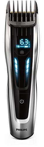 Philips HC9450/20 - Cortapelos con cuchillas de titanio, 3 peines-guía motorizados, con interfaz de cambio digital, soporte de carga y funda, negro, ac/batería